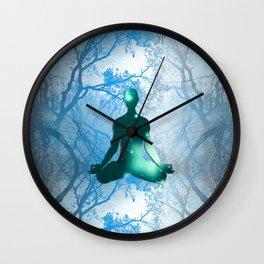Floating Yogi in the Trees (blue) Wall Clock