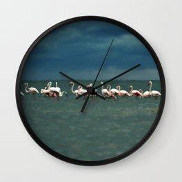 Flamingos in Alexandroupoli Wall Clock