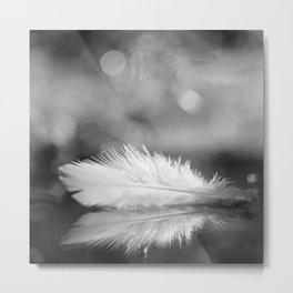 White Feather In Black And White Bokeh Background #decor #society6 #buyart Metal Print