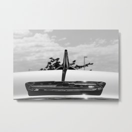 Classic Chevy Emblem in Black and White Metal Print