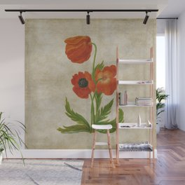 Vintage painting - Bunch of poppies Poppy Flower Garden floral Wall Mural