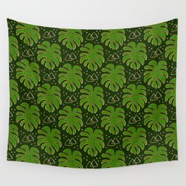 Gold Monstera Leaves in Green Wall Tapestry