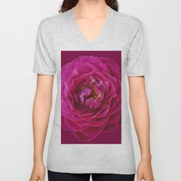 """BLUE YONDER"" MAGENTA ROSE  MAGENTA COLOR ART Unisex V-Neck"
