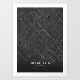 Brampton, Canada - Dark Map Art Print