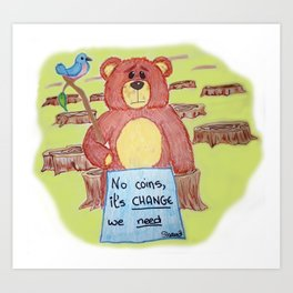 Sad bear & friend Art Print