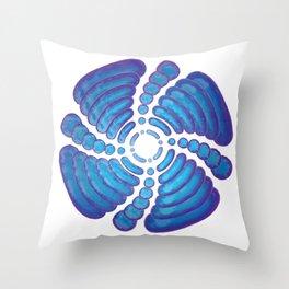 Spiraling Blues Throw Pillow