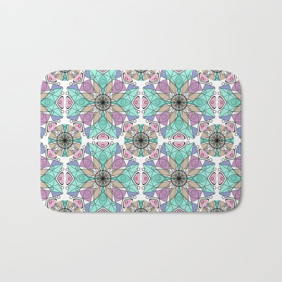 Turquoise pink abstract pattern . Bath Mat