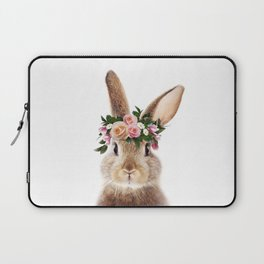 Baby Rabbit, Brown Bunny With Flower Crown, Baby Animals Art Print By Synplus Laptop Sleeve