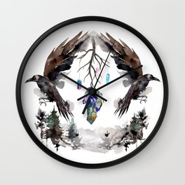Black Ravens In The Crystal Woods Wall Clock