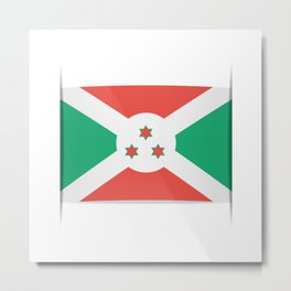 Flag of Burundi.  The slit in the paper with shadows. Metal Print