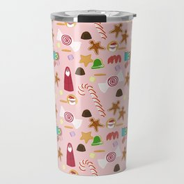 Christmas Sweeties Candies, Peppermints, Candy Canes and Chocolates on Pink Travel Mug