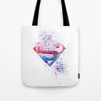 superman Tote Bags featuring Superman by emegi