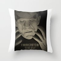 frankenstein Throw Pillows featuring Frankenstein by James Northcote