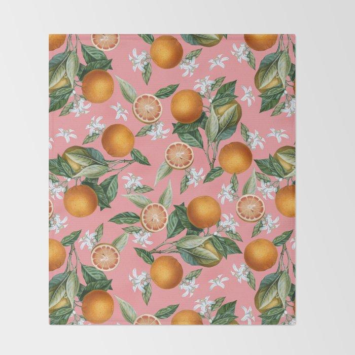 Lemon and Leaf Pattern V Throw Blanket