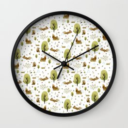 Squirrels in the forest Wall Clock