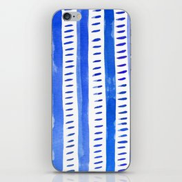 Watercolor lines - blue iPhone Skin