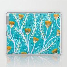 Tiny Moth Garden Pattern - Teal Laptop & iPad Skin