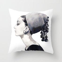 Audrey Hepburn in Couture Hat Throw Pillow