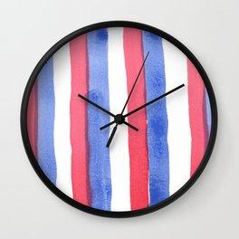 Red White Blue color stripes watercolor design Wall Clock