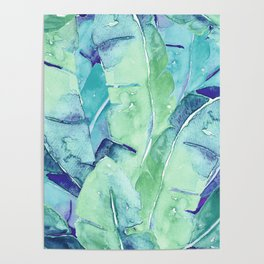 Banana Tree Leaves | Tropical  BLUE Watercolor Poster