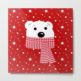 Muzzle of a polar bear on a red background. Metal Print