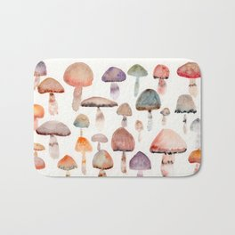 Watercolor Mushrooms Bath Mat