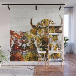 Modern Yellow Buffalo Art by Sharon Cummings Wall Mural