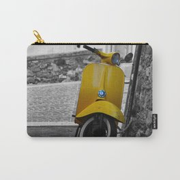 Yellow Vespa in Old Town Cannes Black and White Photography Carry-All Pouch