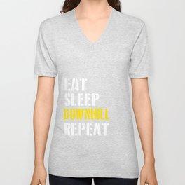 Eat. Sleep. Downhill. Repeat. Unisex V-Neck