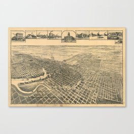 Vintage Pictorial Map of Stockton California (1895) Canvas Print