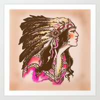 oklahoma Art Prints featuring Oklahoma  by Hollyce Jeffriess Designs