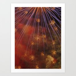 alien invasion fireworks Art Print