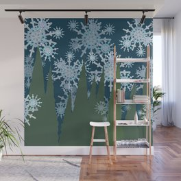 Frosty Snowflakes Falling in the Forest Wall Mural