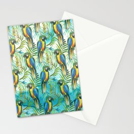 Watercolor blue yellow tropical parrot bird floral Stationery Cards
