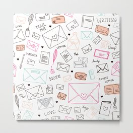 Love letter illustration pattern design Metal Print