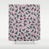 toddler Shower Curtains featuring Trizza - triangle zig zag modern minimal trendy pattern print gender neutral non binary art for all by CharlotteWinter