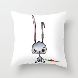 Hungry Rabbit with carrot Throw Pillow