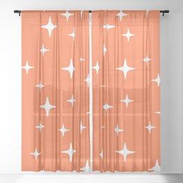 Mid Century Modern Star Pattern 443 Orange Sheer Curtain