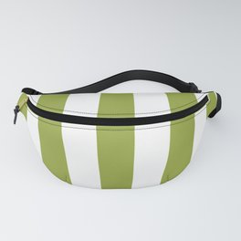 Pomelo green - solid color - white vertical lines pattern Fanny Pack