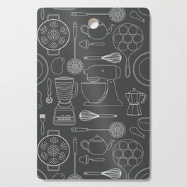 kitchen tools (white on black) Cutting Board
