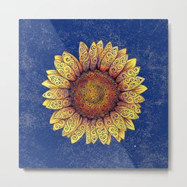 Swirly Sunflower Metal Print
