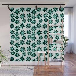 Black & Teal Funky Flowers Pattern Wall Mural