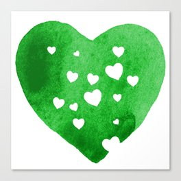 Green Hearts Canvas Print