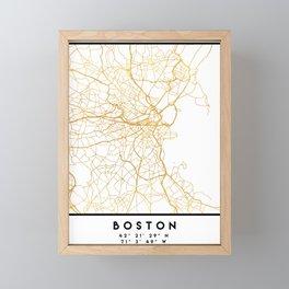 BOSTON MASSACHUSETTS CITY STREET MAP ART Framed Mini Art Print