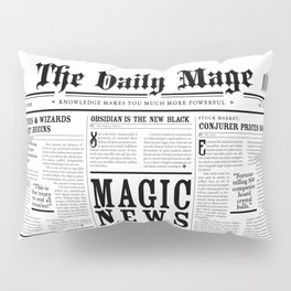 The Daily Mage Fantasy Newspaper Pillow Sham