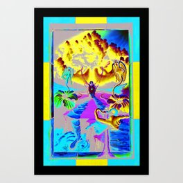 Trippy Psychedelic Surreal Visionary Art by VIncent Monaco - The Battlesoul Art Print