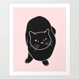 Black Pink Cat Art Print