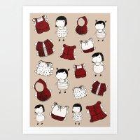 paper dolls Art Print