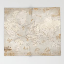 Vintage looking current world map with sea monsters and sail ships Throw Blanket