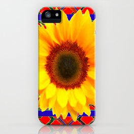 WESTERN BLUE-RED YELLOW SUNFLOWER FLORAL ART iPhone Case